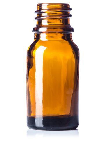 10 mL amber glass boston round euro dropper bottle with 18-DIN neck finish