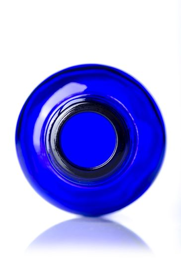 30 mL cobalt blue glass boston round euro dropper bottle with 18-DIN neck finish