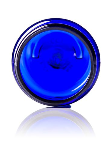 1 oz cobalt blue PET plastic single wall jar with 38-400 neck finish