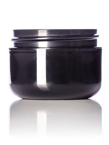 3/4 oz black PP plastic double wall round base jar with 53-400 neck finish