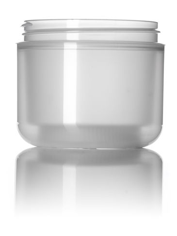 4 oz natural-colored PP plastic double wall round base jar with 70-400 neck finish