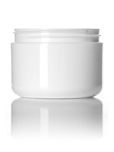 8 oz white PP plastic double wall round base jar with 89-400 neck finish