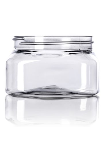 6 oz clear PET plastic square firenze jar with 70-400 neck finish