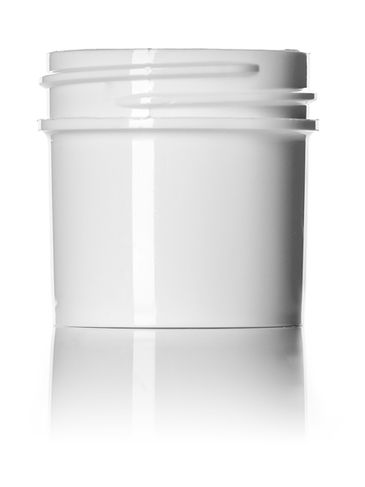 1 oz white PP plastic single wall jar with 43-400 neck finish
