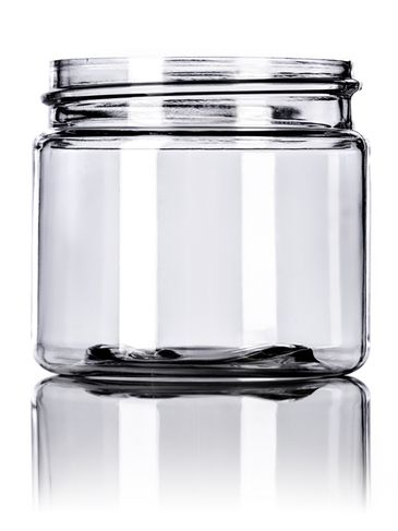 2 oz clear PET plastic single wall jar with 48-400 neck finish