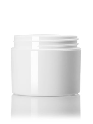 2 oz white PP plastic double wall straight base jar with 58-400 neck finish