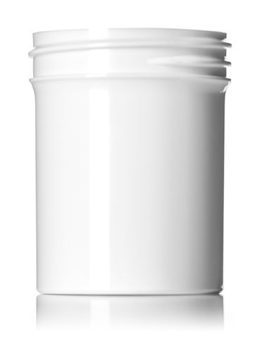 2 oz white PP plastic single wall jar with 48-400 neck finish