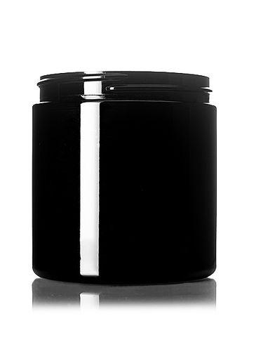 8 oz black PET plastic single wall jar with 70-400 neck finish