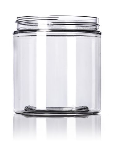 8 oz clear PET plastic single wall jar with 70-400 neck finish