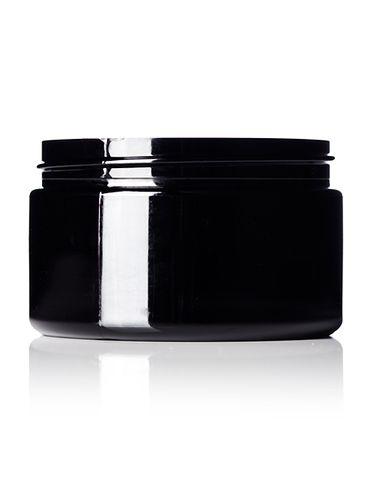 4 oz black PET plastic single wall jar with 70-400 neck finish