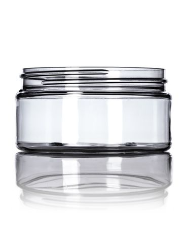 8 oz clear PET plastic single wall jar with 89-400 neck finish