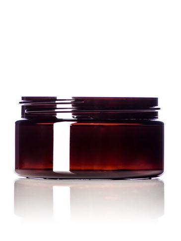 8 oz amber PET plastic single wall jar with 89-400 neck finish