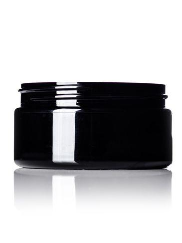 8 oz black PET plastic single wall jar with 89-400 neck finish