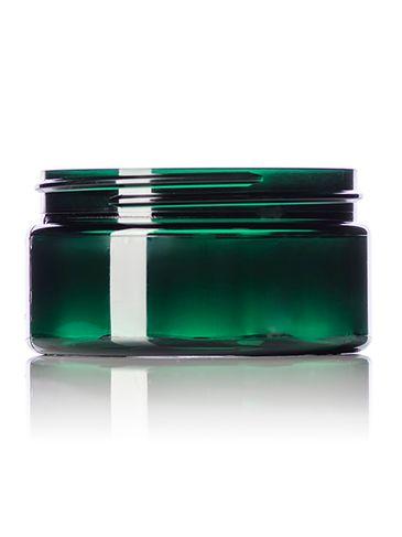 8 oz green PET plastic single wall jar with 89-400 neck finish