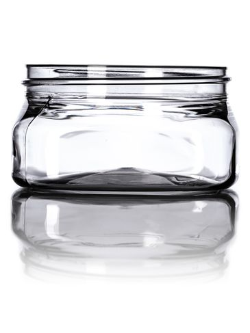 4 oz clear PET plastic square firenze jar with 70-400 neck finish