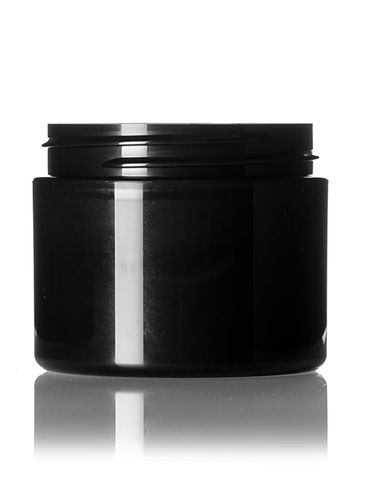 2 oz black PP plastic double wall straight base jar with 58-400 neck finish