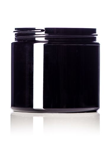 16 oz black PET plastic single wall jar with 89-400 neck finish