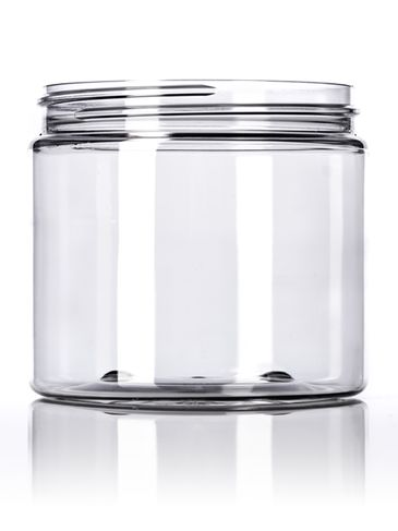 16 oz clear PET plastic single wall heavy gram weight jar with 89-400 neck finish