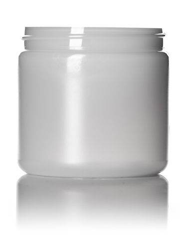 16 oz natural-colored HDPE plastic single wall jar with 89-400 neck finish