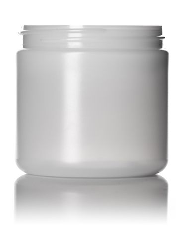 16 oz natural-colored HDPE plastic single wall anti-static jar with 89-400 neck finish