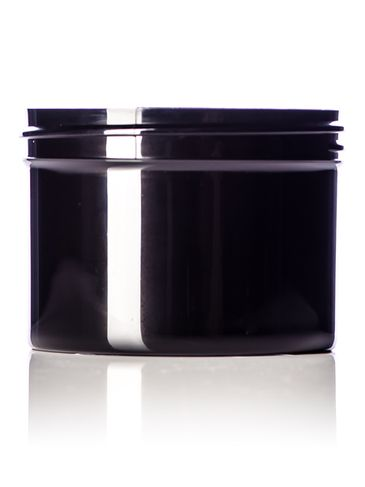 8 oz black PP plastic single wall jar with 89-400 neck finish