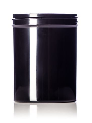 8 oz black PP plastic single wall jar with 70-400 neck finish