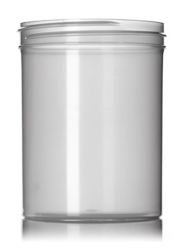 8 oz natural-colored PP plastic single wall jar with 70-400 neck finish