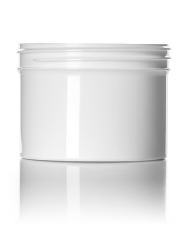 8 oz white PP plastic single wall jar with 89-400 neck finish