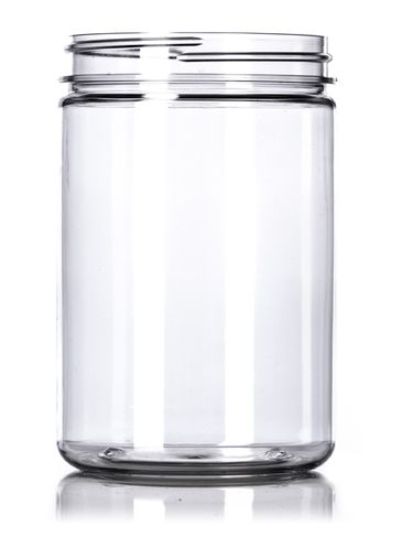 25 oz clear PET plastic single wall jar with 89-400 neck finish