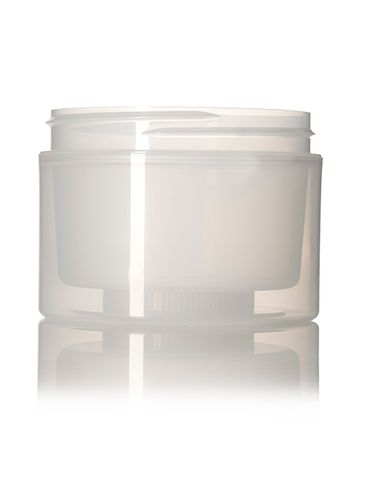 8 oz natural-colored PP plastic double wall straight base jar with 89-400 neck finish