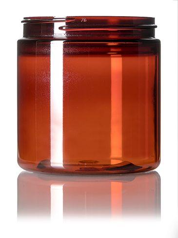 8 oz amber PET plastic single wall jar with 70-400 neck finish