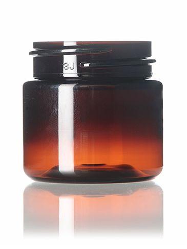 1 oz amber PET plastic single wall jar with 38-400 neck finish