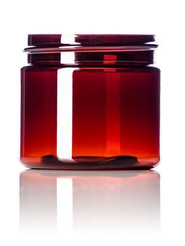 2 oz amber PET plastic single wall UV protection jar with 48-400 neck finish