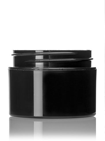 1 oz black PP plastic double wall straight base jar with 53-400 neck finish