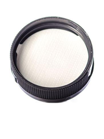 Black PP plastic 38-400 ribbed skirt hinged flip top dispensing cap with unprinted pressure sensitive (PS) liner (0.25 inch orifice)