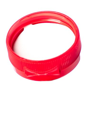 Red PP plastic 38-400 ribbed skirt hinged flip top dispensing cap with unprinted pressure sensitive (PS) liner (0.25 inch orifice)