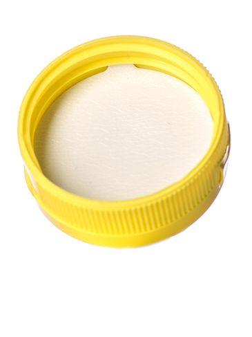 Yellow PP plastic 38-400 ribbed skirt hinged flip top dispensing cap with unprinted pressure sensitive (PS) liner (0.25 inch orifice)