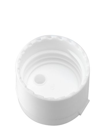 White PP plastic 28-410 smooth skirt hinged flip top dispensing lid unlined (.250 inch orifice)