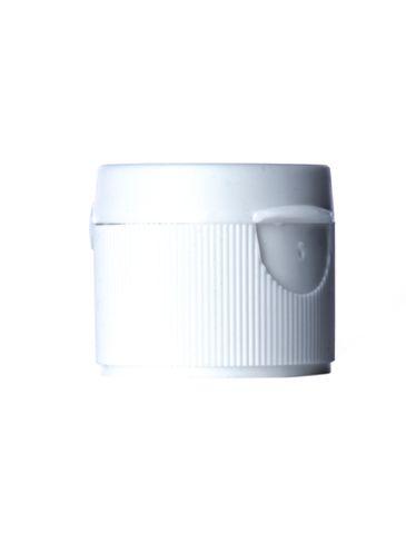 White PP plastic 24-410 ultra ribbed skirt hinged flip top snap cap unlined dispensing cap (0.125 inch orifice)