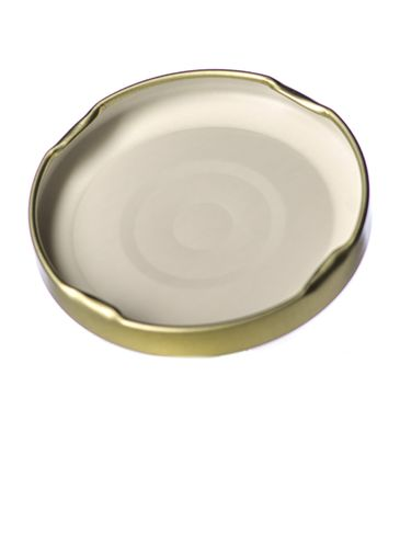 Gold metal 63TW lid with pasteurization-grade plastisol liner and vacuum seal button