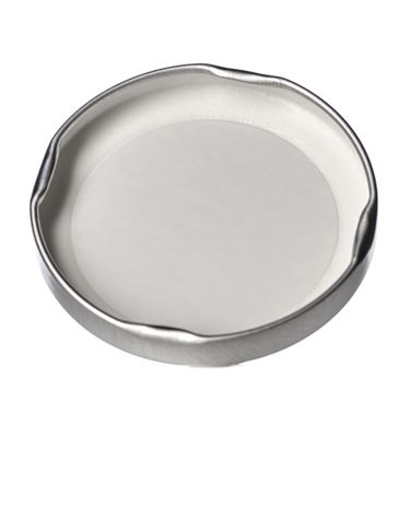 Silver metal 63TW lid with pasteurization-grade plastisol liner