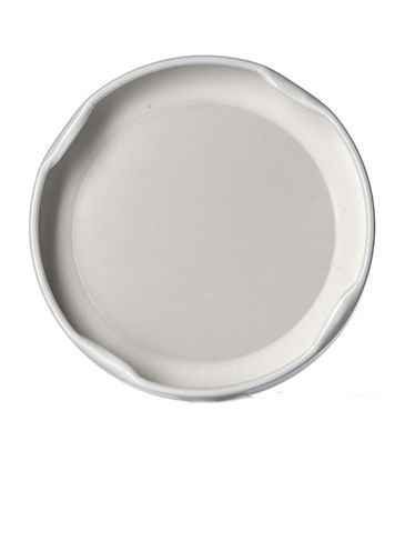 White metal 63TW lid with pasteurization-grade plastisol liner