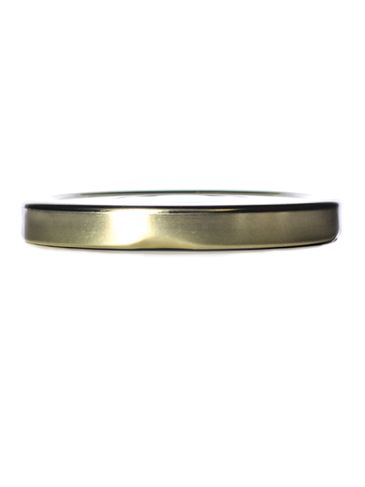 Gold metal 70TW lid with pasteurization-grade plastisol liner and vacuum seal button
