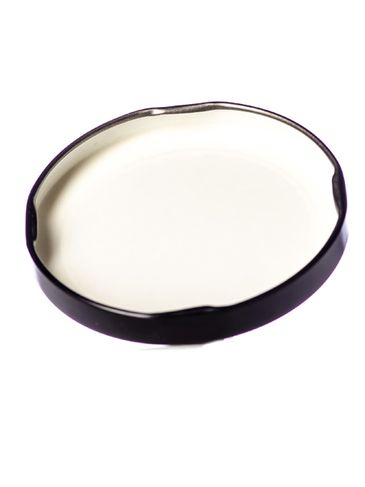 Black metal 70TW lid with pasteurization-grade plastisol liner