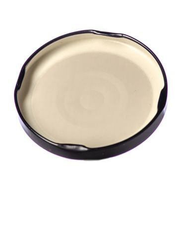 Black metal 70TW lid with pasteurization-grade plastisol liner and vacuum seal button