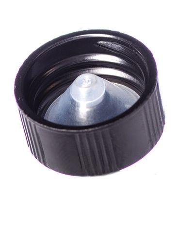 Black phenolic 20-400 lid with LDPE polycone liner