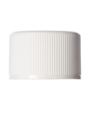 White PP plastic 20-410 ribbed skirt lid with a Lift 'n' Peel universal heat induction seal (HIS) liner