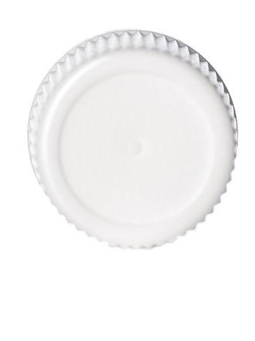 White PP plastic 15-415 ribbed skirt lid with foam liner