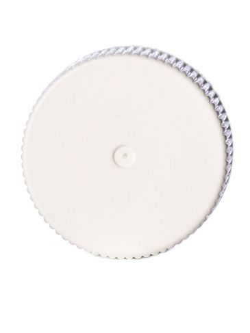 White PP plastic 20-400 ribbed skirt lid with foam liner and printed pressure sensitive (PS) liner