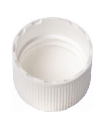 White PP plastic 20-410 ribbed skirt lid with foam liner